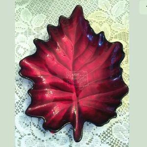 ARDA Art Glass Leaf Shaped trinket Plate Turkey